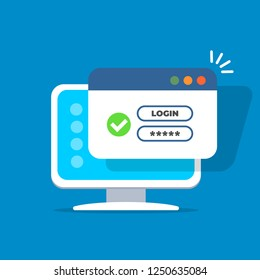 Computer with password login on screen. Username form with green tick icon.  Window browser with user authorization. Registration form. Vector illustration in flat style.