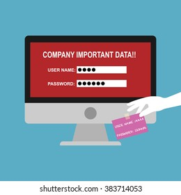 Computer pc with user name and password in paper for logon to company important data. Vector illustration business policy and privacy concept for data security protection.