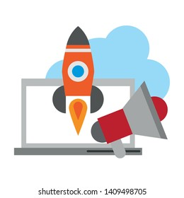 Rocket Launch Isolated Stock Illustrations, Images & Vectors