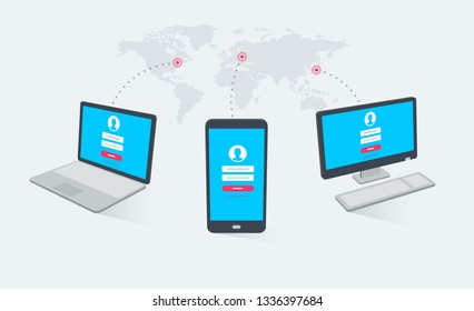 Computer, phone and laptop in different angles with login page on screens and world map in the background. Modern flat design graphic elements.