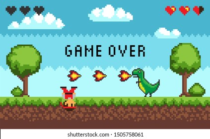Computer pixel game interface, pixalated defeated personage near dinosaur with fire, 8 bit portrait view of fight monster and character, hero battle in video-game, you lose duel, game over text