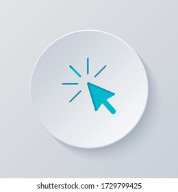 Computer pointer, cursor or mouse arrow, click. Cut circle with gray and blue layers. Paper style