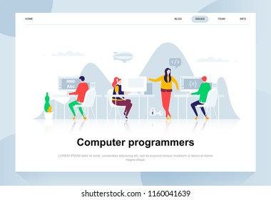 Computer programmers modern flat design concept. Software development and people concept. Landing page template. Conceptual flat vector illustration for web page, website and mobile website.