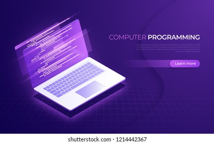 Computer programming, coding, testing, debugging, software development isometric concept. Vector illustration.