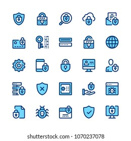Computer protection, internet security, privacy line icons set. Modern graphic design concept, simple symbols collection. Minimal thin line design. Premium quality. Pixel perfect. Vector outline icons