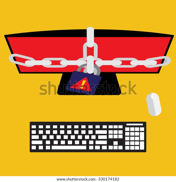 Computer with ransomware encrypted file on victim computer. Virus computer flat design vector illustration.