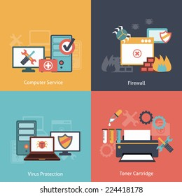 Computer repair and  antivirus protection software installation service flat icons infographics with laser toner isolated vector illustration