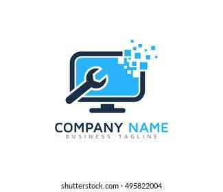 Computer Repair - Digital Computer Logo Template