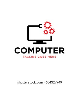 computer repair logo icon vector logo
