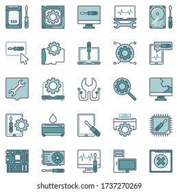Computer Repair and Maintenance vector creative icons or design elements collection
