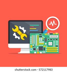 Computer repair, computer service, diagnostics concepts. Premium quality. Modern flat design graphic elements for web banners, websites, infographics, printed materials. Vector illustration.