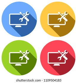 Computer repair service. Set of white icons with long shadow on blue, orange, green and red colored circles. Sticker style