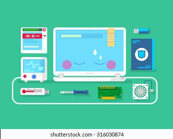Computer repair. Computer service, setting maintenance and diagnostic, flat vector illustration
