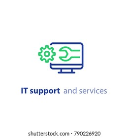 Computer repair services, cogwheel and wrench, IT support concept, software development, system administration, desktop upgrade and update, program installation, vector line icon