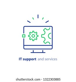 Computer repair services, IT support concept, software development, system administration, desktop upgrade and update, program installation, vector line icon