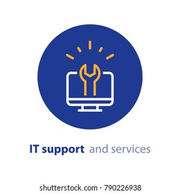 Computer repairing, IT support and services concept, software development, system administration, desktop upgrade and update, program installation, vector line icon