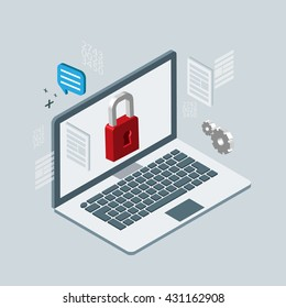 computer safety. Isometric 3d vector illustrations