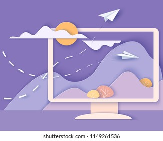 Computer screen with landscape. Nature Ecologic Scene on Monitor screen with mountains, trees, waterfall and paper planes. Paper cut style. Vector illustration
