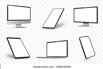 Computer Screen, Laptop, Tablet PC and Mobile Phone Vector illustration With Perspective Views.  Blank Screen Devices on Transparent Background.