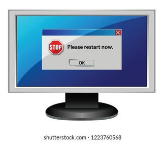 Computer screen with please restart now error message