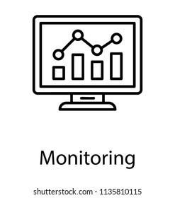 Computer screen showing graphical representations to denote monitoring icon