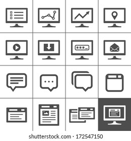 Computer screen symbols and icons. Dialog and message boxes. Simplus series. Vector illustration
