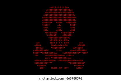 Computer screen with virus attack by virus of extortioner Petya, vector illustration