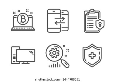 Computer, Search statistics and Privacy policy icons simple set. Phone communication, Bitcoin and Medical shield signs. Pc component, Analysis. Technology set. Line computer icon. Editable stroke