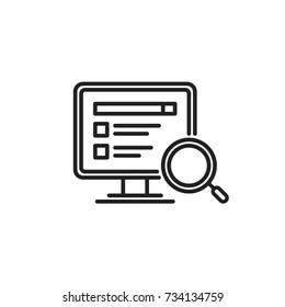 Computer Search Vector Line Icon
