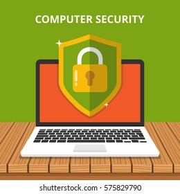 Computer security concept. Laptop with shield and lock on table. Flat vector illustration.