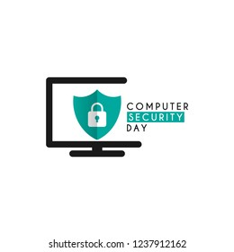 Computer security day design template. Vector eps 10