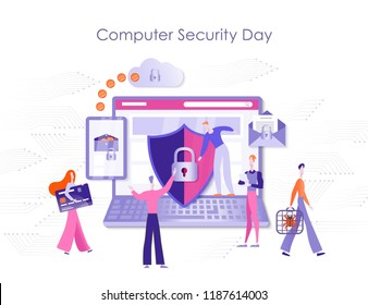 Computer Security Day, Protection of the personal computer, online payments, bank cards, e-mail, protection from spam and viruses. Colorful vector illustration of modern website