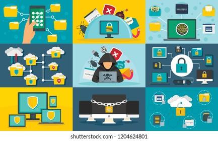 Computer security defence software banner set. Flat illustration of computer security defence software vector banner set for web design