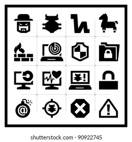 Computer Security icons set - square series