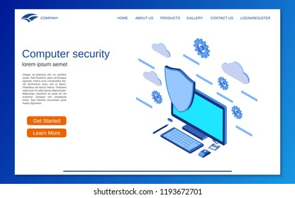 Computer security, information protection flat 3d isometric vector concept illustration. Website landing page design template