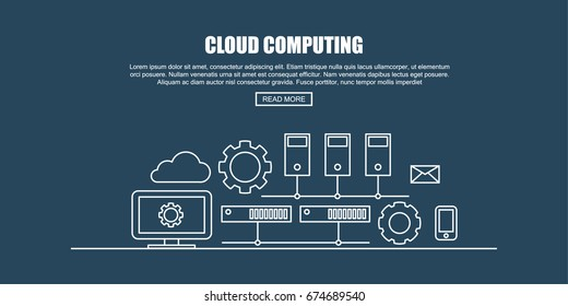 Computer and Server Cluster, Coud Computing Concept. Flat Thin line Designed Vector Illustration