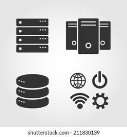 Computer Server icons set, flat design