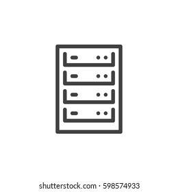 Computer server line icon, outline vector sign, linear style pictogram isolated on white. Symbol, logo illustration. Pixel perfect