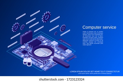 Computer service, repair, first aid flat 3d isometric vector concept illustration