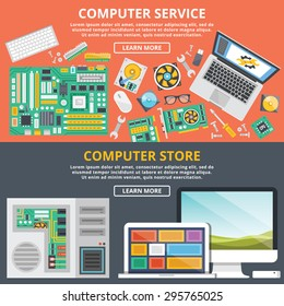 Computer service, computer store flat illustration concepts set. Flat design concepts for web banners, web sites, printed materials, infographics. Creative vector illustration.