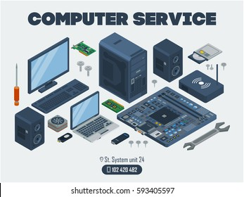 computer service template. Template  with a computer, monitor, keyboard, screws and other electronic device