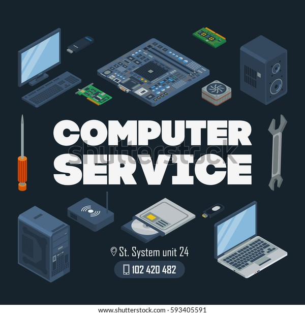 Computer Service Template Template Computer Monitor Stock Vector (Royalty Free) 593405591