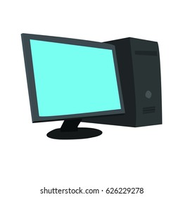 computer set with green screen
