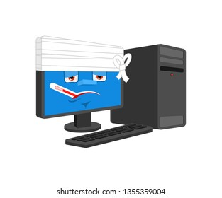 Computer Sick With thermometer isolated. ill PC Cartoon Style. data processor  bandaged Vector