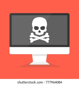 Computer with skull on the screen. Concept of virus, piracy, hacking and security. Vector illustration.