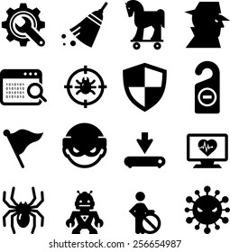 Computer spyware, virus, spam and malware icons