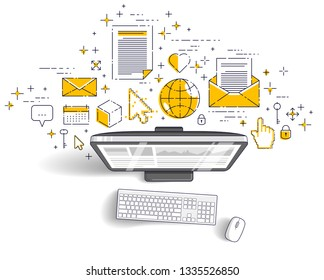 Computer with statistics infographics and set of icons, online business, internet electronic finances, vector design.