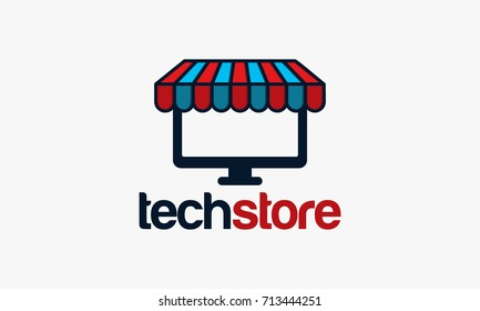 computer store logo designs, Tech template vector illustration