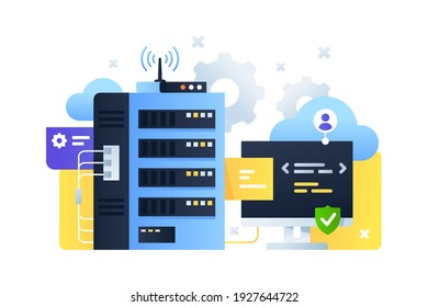 Computer system with cloud servers sending signal and code programming on computer digital and online technology Concept using modern connected pc technology with wireless upgrade. Vector illustration.