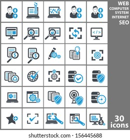 Computer system and Seo analysis icons,Blue version,vector
